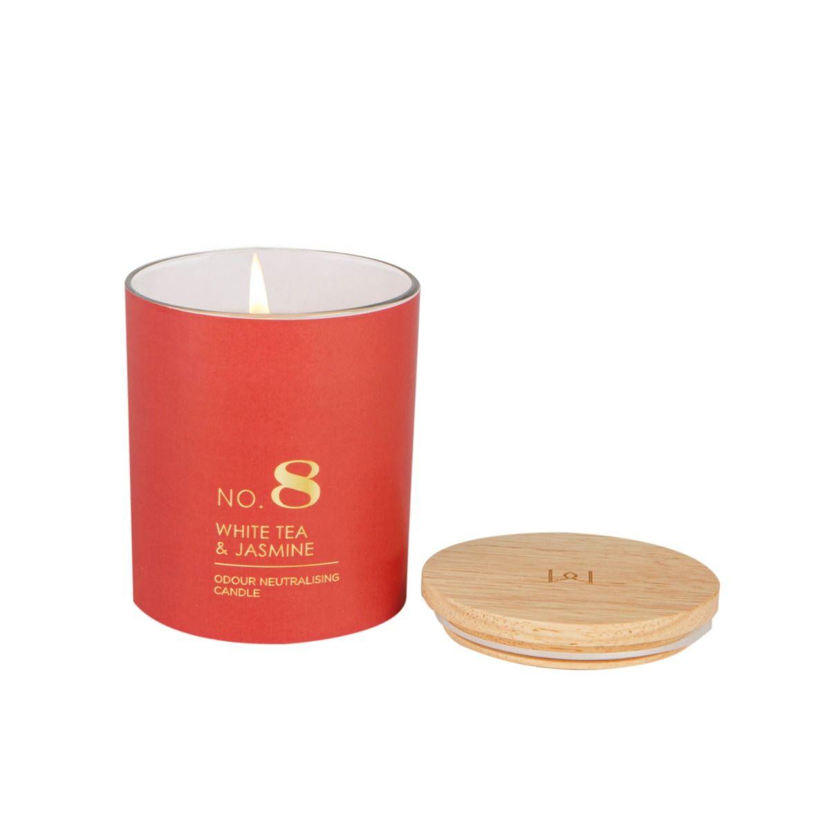White Tea & Jasmine Coloured Glass Candle